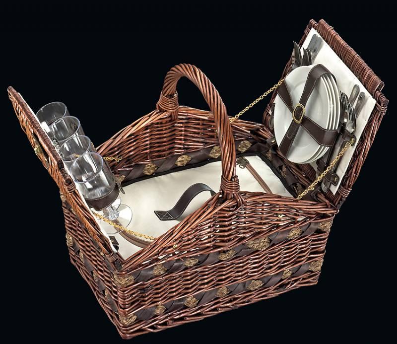 Cilio Piknikový koš Picknickkorb Como Tmavě hnědý